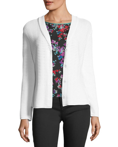 Button-Front Shawl-Collar Knit Jacket