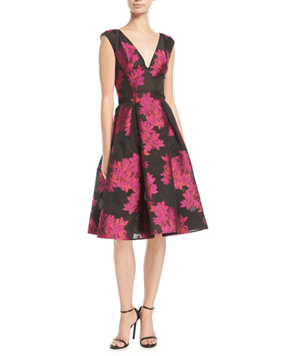 V-Neck Sleeveless Floral-Embroidered Fit-and-Flare Cocktail Dress