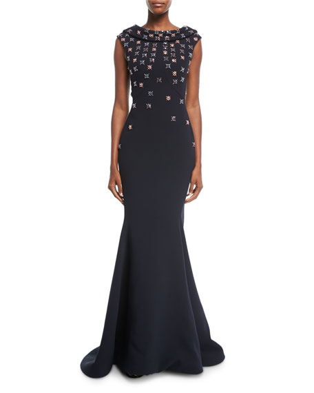 Floral-Embroidered Cowl-Neck Cap-Sleeve Crepe Evening Gown