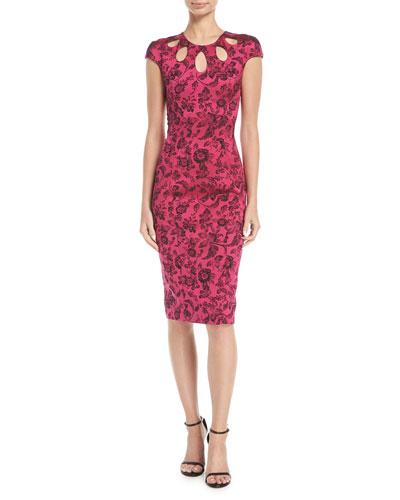Party-Jacquard Cutout-Neckline Sheath Cocktail Dress