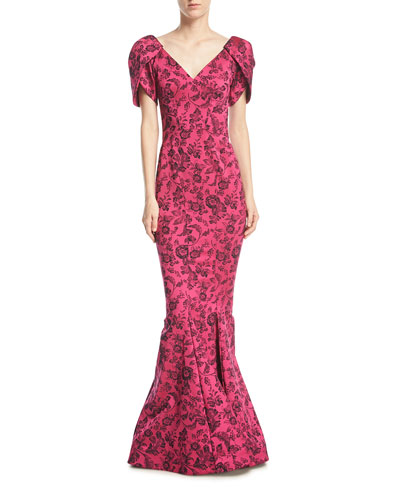 Party-Jacquard V-Neck Trumpet Evening Gown