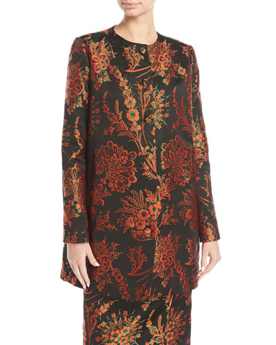 Button-Front Floral-Jacquard Collarless Long Jacket