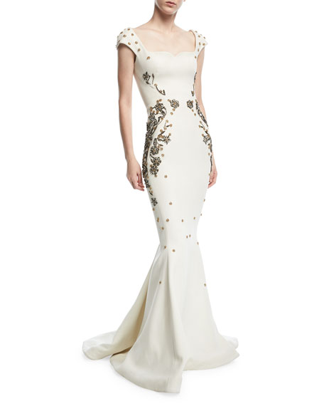 Zac Posen Jewel Embroidered Square-Neck Trumpet Evening Gown