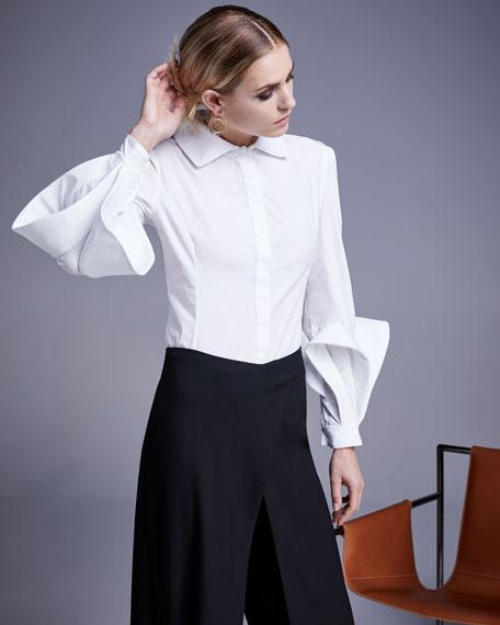 Spread-Collar Button-Front Cotton Blouse
