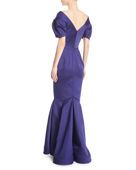 V-Neck Double-Face Duchess Satin Evening Gown