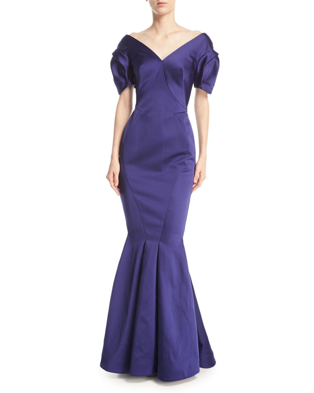 Zac Posen V-Neck Double-Face Duchess Satin Evening Gown   Neiman Marcus