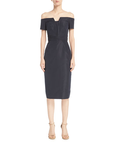 Off-the-Shoulder Sheath Cocktail Dress with Pintucking