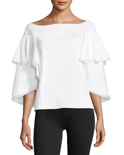 Bateau-Neck Tiered Cape Bell-Sleeve Cotton Blouse
