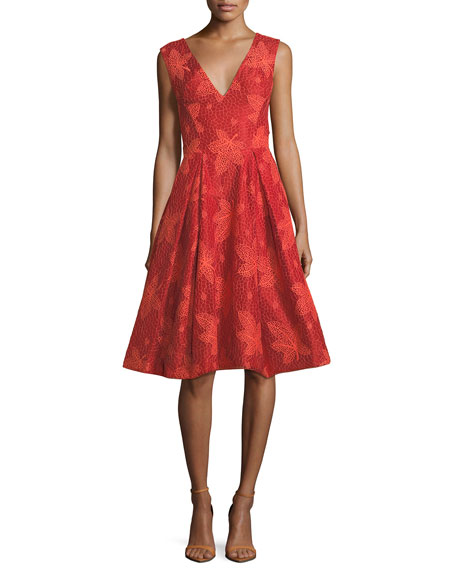 Leaf-Lace V-Neck Sleeveless Fit-and-Flare Cocktail Dress