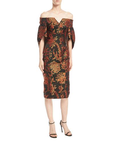 Off-the-Shoulder Floral-Jacquard Sheath Cocktail Dress