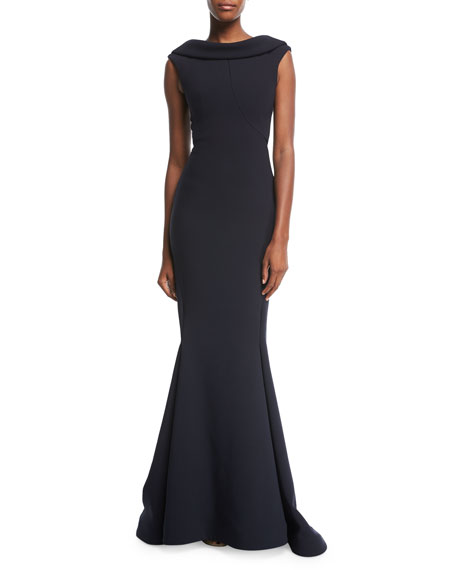 Zac Posen High-Neck Cap-Sleeve Evening Gown