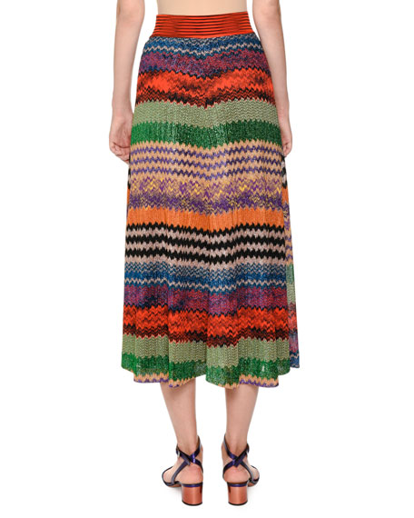 Multicolor Knit A-Line Maxi Skirt