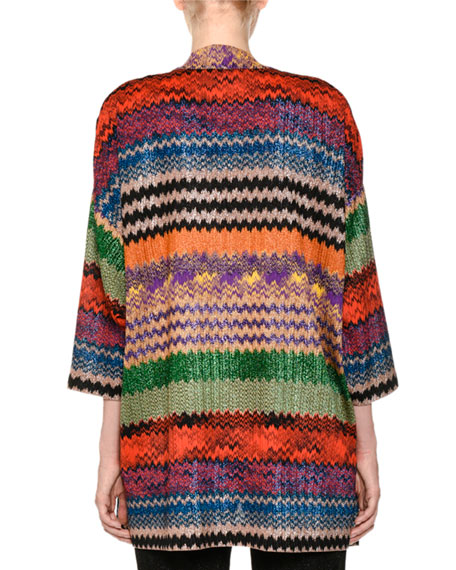 Open-Front Multicolor Metallic Knit Oversized Cardigan