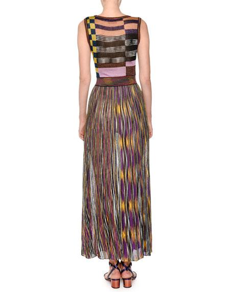 Sleeveless Multicolor Pleated Knit Maxi Dress