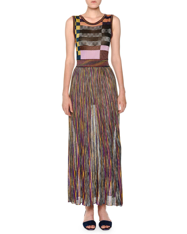 3fcccf1d360 Missoni Sleeveless Multicolor Pleated Knit Maxi Dress