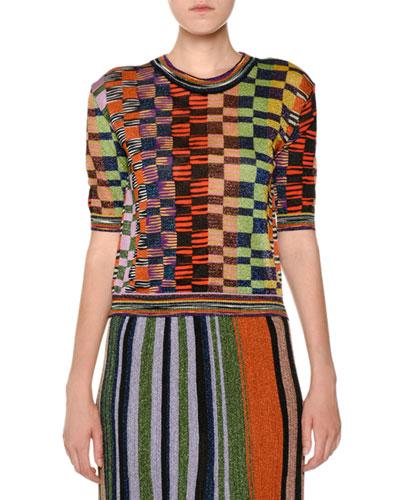 Crewneck Short-Sleeve Multicolor Knit Top