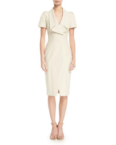 Collared Short-Sleeve Cocktail Dress w/ Asymmetrical Slit
