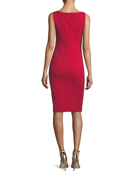 Scoop-Neck Sleeveless Tonal-Grid Stretch-Knit Sheath Dress