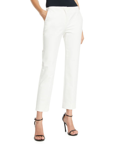 Emporio Armani Straight-Leg Cropped Cotton-Blend Pants