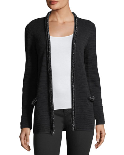 Hook-Front Striped-Knit Cardigan With Embellished Trim