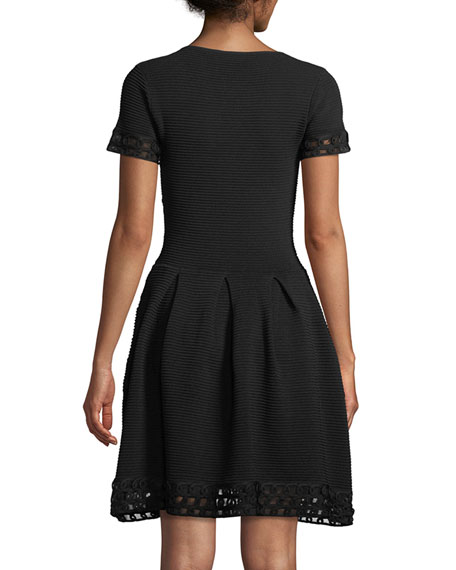 Short-Sleeve Ottoman Ribbed Fit-and-Flare Dress with Lattice Trim