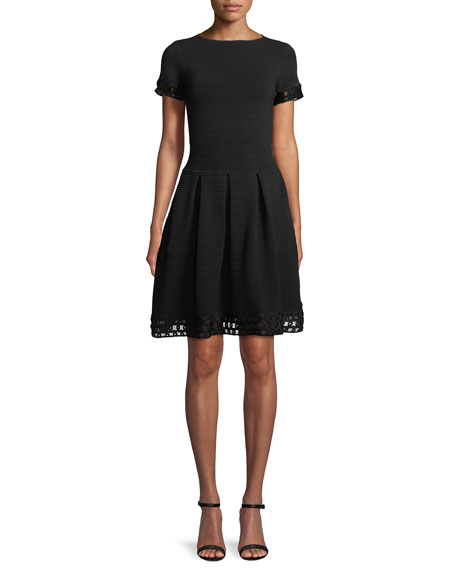 Emporio Armani Short-Sleeve Ottoman Ribbed Fit-and-Flare Dress