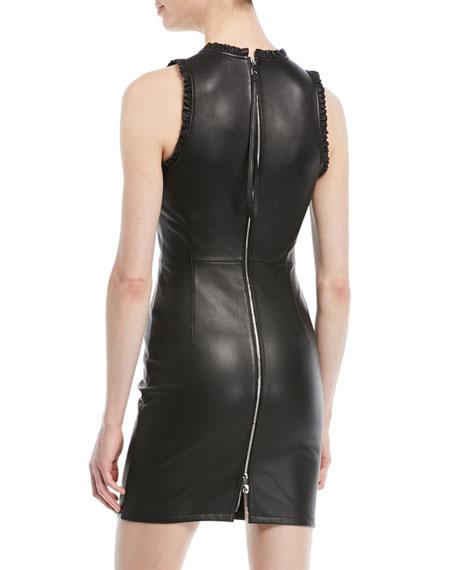 Sleeveless Ruffle-Trim Leather Sheath Dress with Back Zip