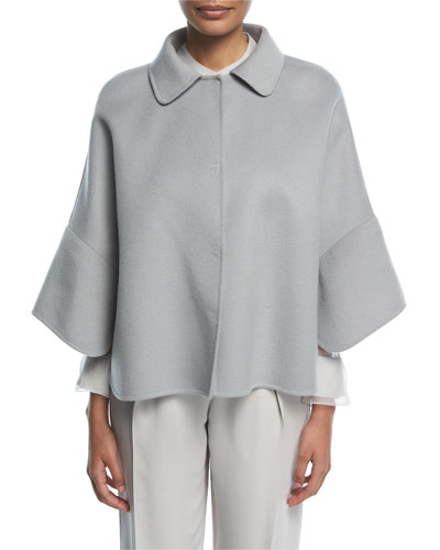 Cristallo Button-Front Wool-Cashmere Swing Caban Coat