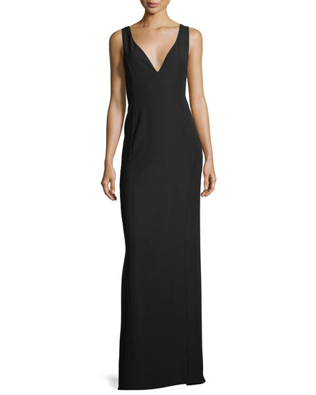 Deep V Crepe Column Evening Gown with Pleat Detail