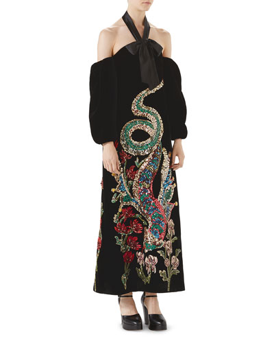 Sequin Embroidered Velvet Gown