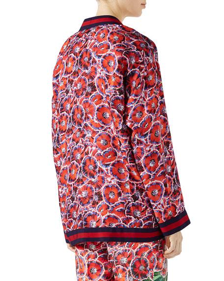 Garden-Print Silk Twill Long-Sleeve Pajama Top