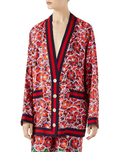 Garden-Print Silk Twill Long-Sleeve Pajama Top