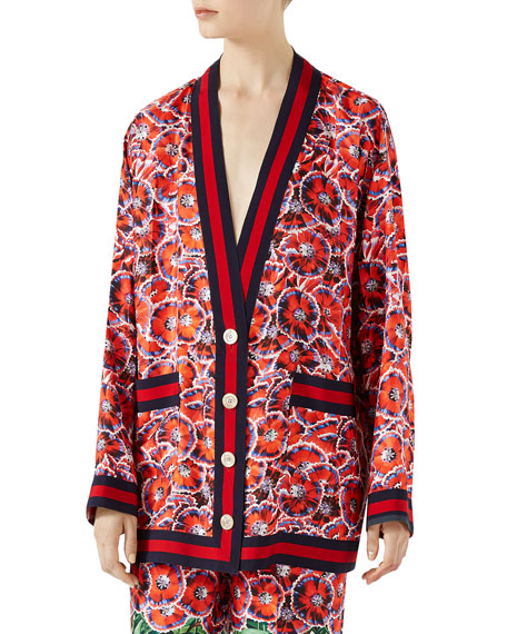 Gucci Garden-Print Silk Twill Long-Sleeve Pajama Top and
