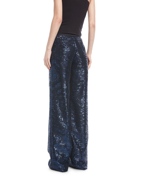 Wide-Leg Metallic Tweed Pants