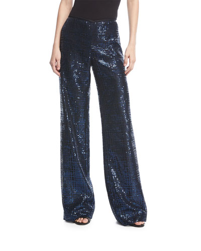 Wide-Leg Metallic Tweed Pants