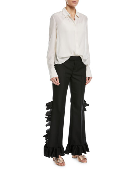 Wool-Mohair Ruffle Pants