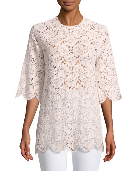 Short-Sleeve Floral-Lace Tunic Top
