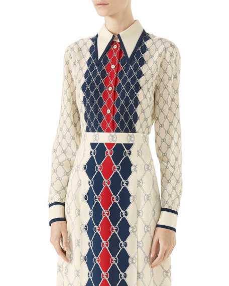 Gucci Long-Sleeve Gucci Rhombus-Print Shirt