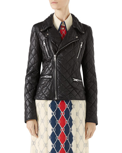 Quilted Napa Leather Biker Jacket