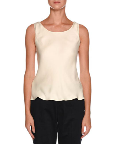 Round-Neck Sleeveless Silk Tank