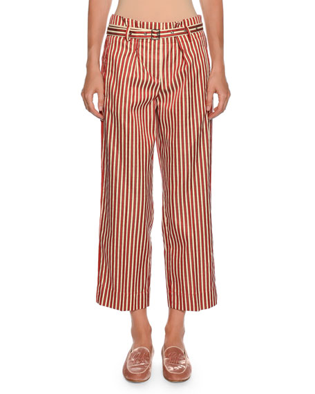 Giorgio Armani Multi-Striped Wide-Leg Cotton-Silk Pants