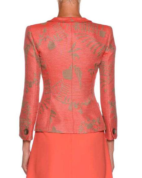 One-Button Garden-Print Silk Jacket