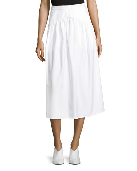 A-Line Cotton-Poplin Ankle-Length Midi Skirt