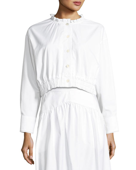 Lundi Button-Front Elastic-Waist Cotton Poplin Blouse
