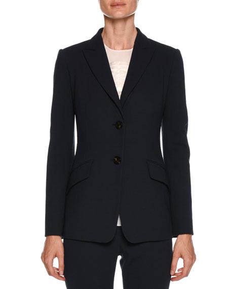 Peak-Lapel Two-Button Classic Wool Jacket