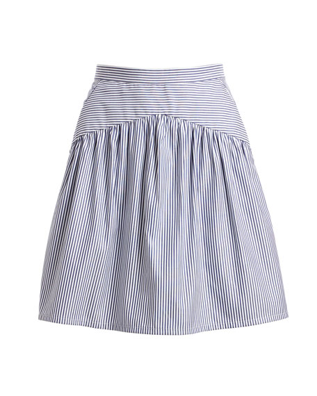 Striped A-Line Knee-Length Cotton Poplin Skirt