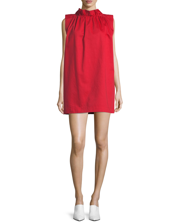 42ca6fcc42c Atlantique Ascoli High-Neck Sleeveless Cotton-Linen Shift Dress ...