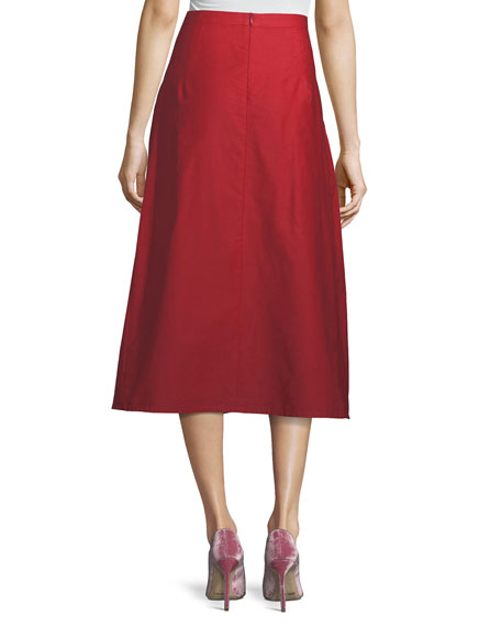 Ankle-Length A-Line Cotton-Linen Midi Skirt