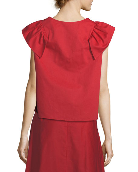 Vendredi Sleeveless Ruffled-Frill Cotton-Poplin Blouse
