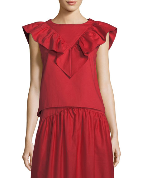 Atlantique Ascoli Vendredi Sleeveless Ruffled-Frill Cotton-Poplin